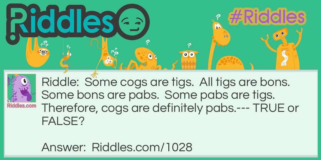 Cogs, Tigs and Pabs Riddle Meme.