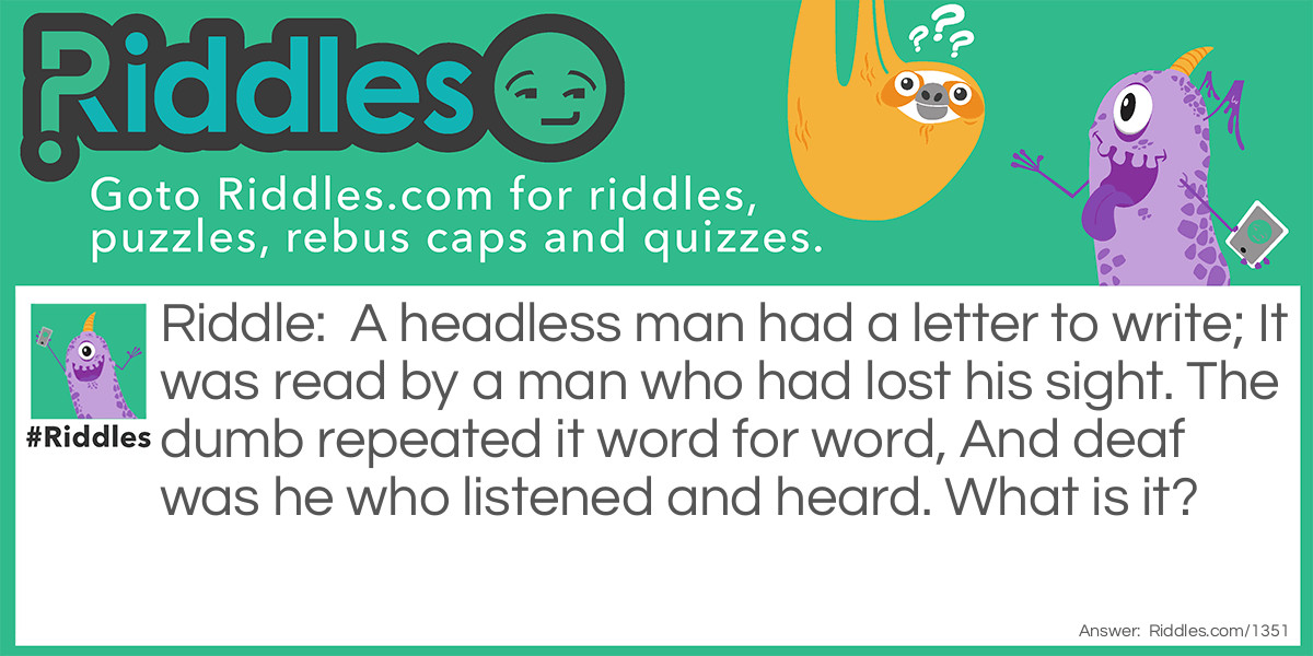 The Headless Man Riddle Meme.