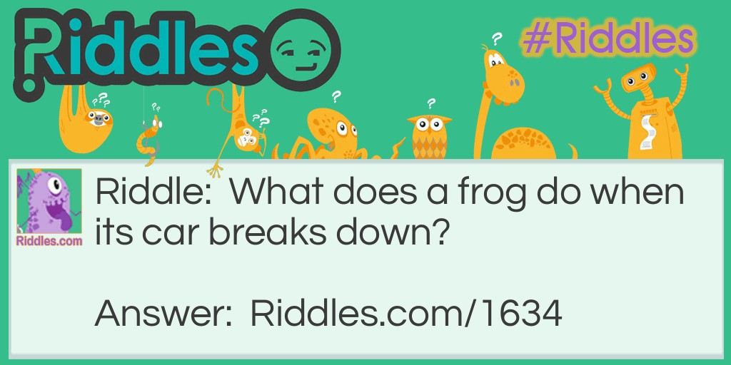 Frog needs a ride Riddle Meme.
