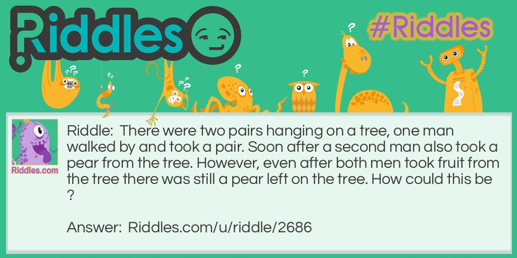 2 pears on a tree Riddle Meme.