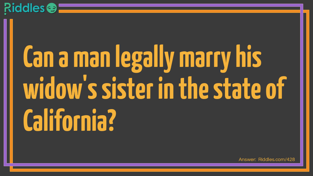 Legal Marriage Riddle Meme.
