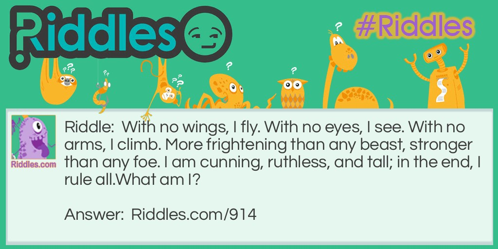 With no wings, I fly Riddle Meme.